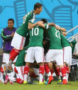 Mexico Celebrates after scoring! From O Canada